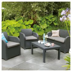 SunTime Outdoor Living Oklahoma 4 Piece Lounge Seating Group with Cushion & Reviews | Wayfair.ca