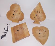 Set of 4 wooden platter , picture transfer of set of cards shapes of heart spade club and diamond covered with mod podge for protection and glossy finish Wooden Platters, Invite Your Friends, Diamond Heart, Gifts For Him, Heart Shapes, Picture Frames, Playing Cards, Advertising, Invitations