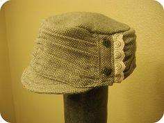 Hat Tutorial | Cadet cap using the waistband from a skirt