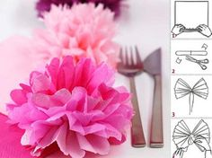 Pompons selber machen - Bild 6 Pompons are currently a big trend for the wedding decoration. Diy Wedding, Wedding Venues, Wedding Flowers, Tissue Paper Flowers, Fabric Flowers, Paper Crafts, Diy Crafts, Diy Presents, Baby Party