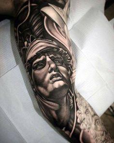 60 Roman Statue Tattoo Designs For Men - Stone Ink Ideas Spqr Tattoo, Zeus Tattoo, I Tattoo, Tattoo Pics, Super Mario Tattoo, Statue Tattoo, History Tattoos, Bild Tattoos, Stone Carving
