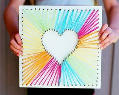 MAKE HEART STRING ART Diy Mother's Day Crafts, Fun Arts And Crafts, Mother's Day Diy, Yarn Crafts, Kids Crafts, Valentine Crafts For Kids, Mothers Day Crafts, Valentines For Kids, String Art Diy