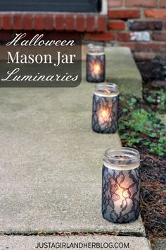 Love these beautiful lacy mason jars as part of a centerpiece or as a luminary! So many possibilities! | JustAGirlAndHerBlog.com