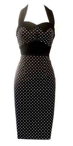 New H&R Black Polka Dot Vtg 1950's style Pin-Up Rockabilly Wiggle Dress UK 12