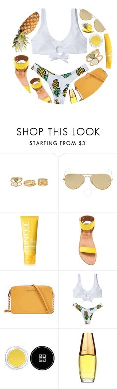 """Pineapple"" by monmondefou ❤ liked on Polyvore featuring Ray-Ban, Clinique, K. Jacques, Michael Kors, Givenchy, Estée Lauder, white and yellow"