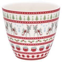 Latte cup bambi white, from GreenGate. Bambi, Latte Cups, Brunch, Nordic Home, Jar Storage, Danish Design, Gates, Stoneware, Tableware