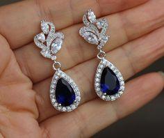 cz earring blue bridal earring sapphire earring dark blue earring bridesmaid earring by arbjewelry on Etsy https://www.etsy.com/listing/266464382/cz-earring-blue-bridal-earring-sapphire