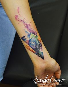 Watercolour Triangles Tattoo by Alex Alvarado. Vegan friendly tattoo and piercing studio in Hackney, North London. Specialised in modern tattoos, such as watercolour, realism and geometry.