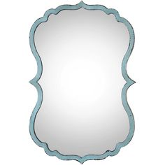 Christiane Global Bazaar Distressed Blue Curved Metal Mirror ($130) ❤ liked on Polyvore featuring home, home decor, mirrors, metal mirror, blue home accessories, framed mirror, metal home decor and metal framed mirror
