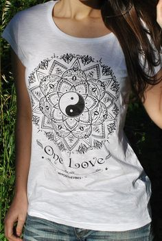 Mandala Yin Yang Woman t-shirt spiritual new age yoga trance zen tshirt scoop neck slub spirit shirt cool tee 2013 S M L XL