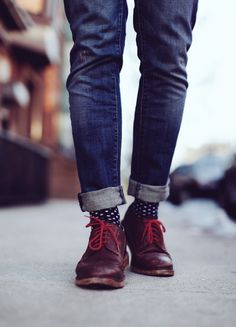 Red Laces × Polka Dot Socks #streetstyle