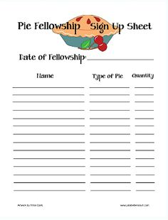 sign up sheet for food