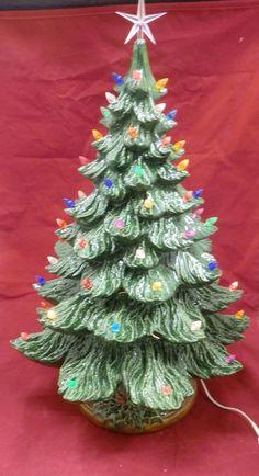 24 handpainted green glazed lighted ceramic christmas tree handcrafted christmas tree with lights - Green Ceramic Christmas Tree With Lights