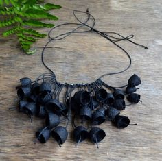 necklace black natural silk cocoon silk cocoons by batikelena