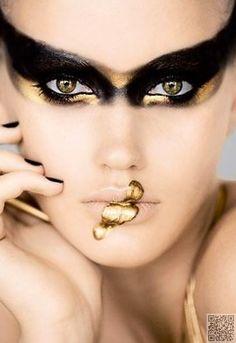 4. #Black and Gold - #Beauty or Art? Stunning #Avant Garde #Makeup ... → Makeup #Stunning