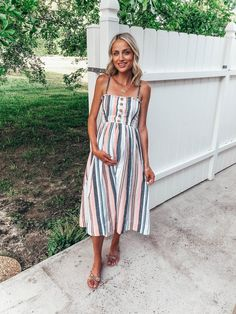 White, blue and pink button-down striped midi dress+nude bow sanals+necklace. - White, blue and pink button-down striped midi dress+nude bow sanals+necklace. Summer Dressy Casual / Pregnancy/ Maternity Outfit 2019 Source by luisapazosg - Casual Maternity Outfits, Summer Maternity Fashion, Maternity Dresses Summer, Stylish Maternity, Maternity Wear, Casual Outfits, Pregnancy Fashion, Summer Pregnancy Style, Maternity Fashion Dresses