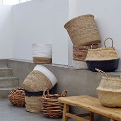 Set of 2 Seagrass Baskets with Handles