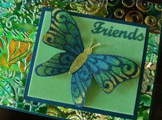 Just another card with the new Dies, the Silk Microfine glitter and our Double Sided adhesive.  Friends was cut out of our Velvet Self Adhesive XL sheets.  Background is a patchwork of pieces of Shimmer Sheetz.