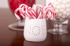Red & White Candy Canes in White Noel Tea Light Holder