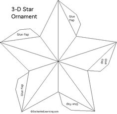 Creek Primitive: 3 D Prim Star Ornament Crow Creek Primitive: 3 D Prim Star Ornament , Crow Creek Primitive: 3 D Prim Star Ornament , Handmade Five-pointed Star Origami Video Tutorial - Pretty step-by-step DIY tutorial for paper stars. 3d Templates, Star Template, Ornament Template, Diamond Template, Printable Templates, Christmas Paper, Christmas Crafts, Xmas, Noel Christmas