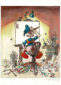 Fernandez, Toni - Original mixed-media artwork - Donald Duck Inspired by Norman Rockwell's-Self Portrait - W.B.