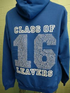 Looking great for St Boniface RC Primary School with the slogan The One Who Does Good on the custom embroidered logo. Blue Leavers Hoodies with white Leavers Name Print on the back.