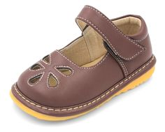 Squeaky Shoes | Brown Flower Punch Toddler Girl Mary Jane
