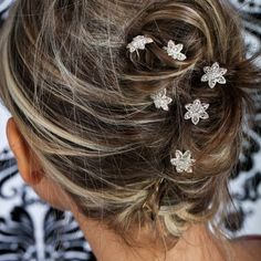 Bridal Wedding Beautiful Elegant Crystal Flower Hair Pins Sticks PACK OF 6 -- Want to know more, click on the image.(This is an Amazon affiliate link)