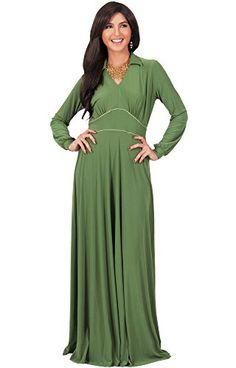 5e49165601ebf KOH KOH Womens Long Sleeve Solid Vneck Fall Winter Flowy Formal Gown Maxi  Dress Color Green