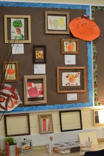 the children's art can be displayed in the empty frames before being taken home-always changing display