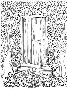 Forest door coloring page