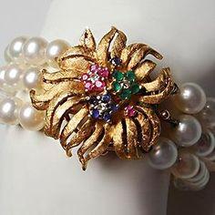 Vintage Fine Jewelry Three Row Pearl Bracelet w/14K Gold Clasp, Emeralds Rubies Sapphires & Diamonds