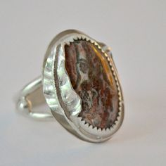 Sterling silver ring with handmade leaf and by Untwistedsister, $68.00