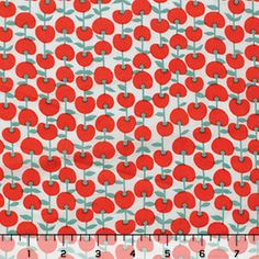 Vintage Cherries Red Cotton Lawn Fabric
