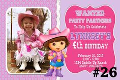 20 Printed Dora the Explorer Cowgirl Western by LetsPartyShoppe, $20.00