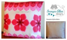 Bright, bold, pink retro cushion design featuring genuine 1970s upholstery fabric