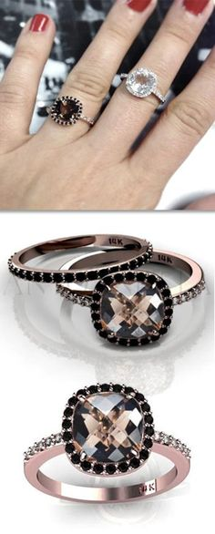 This smoky quartz rose gold ring with black diamonds could be your perfect engagement or wedding ring. If you are looking for an alternative proposal ring, this could be the one! This piece features a delicate design and a cushion shape.