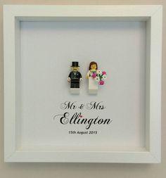 Lego wedding gift bride and groom minifigures framed by Brickish