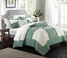 Chic Home Lazio 7-Piece Soft Microsuede Patchwork Comforter Set, Includes Bed in a Bag, 2-Sham and 4-Throw Pillow, Queen, Green/White, #LuxBed #ChicHome #Bedroom #Sherpa #Bedding #Comforter
