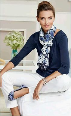 Spring style!! Classic blue and white spring outfit! White jeans; blue long-sleeved tee-shirt or soft sweater; blue and white scarf and cut shoes!! Put your hair up for a sleek look!