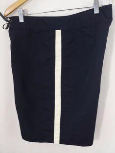 Patagonia Board Shorts Mens 33 Swim Trunks Navy Blue with side White Stripe #Patagonia #BoardShorts