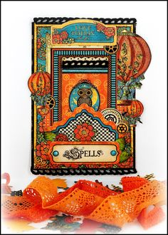 Halloween card - Scrapbook.com - Gorgeous handmade card made with Graphic 45 supplies