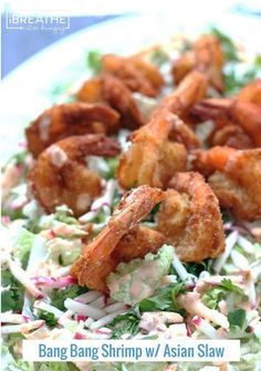 A low carb and gluten free version of  Bang Bang Shrimp with Asian Slaw.  Crunchy, Sweet, Smoky, Spicy, Bliss! Keto and Atkins friendly!