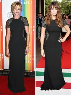 Fashion Faceoff: Vote on Dianna vs. Emily and More! | MELANIE VS. JENNIFER | There's 15 years between them, but the 57-year-old actress definitely holds her own against the 42-year-old star in this sheer-paneled Stella McCartney gown.