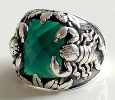 925 Sterling Silver Men's Ring With Scorpion por lunasilvershop