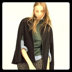 NWT ZARA HAND MADE WOOL BUTTON UP CAPE SIZE SMALL ALL PRICES IN MY CLOSET ARE NEGOTIABLE. ALL REASONABLE OFFERS CONSIDERED. Zara Jackets & Coats Capes