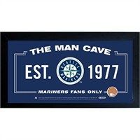Seattle Mariners Man Cave Framed 10x20 Sign w/ Authentic Game-Used Dirt Capsule (MLB Auth)