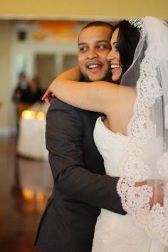 Alexandra & Sam's Wedding May 18, 2013 Happy couple, lace veil George Street Photography