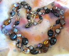 Vintage Hattie Carnegie Two Strand Brown and Amber Bead Necklace from 2heartsjewelry-rl on Ruby Lane.