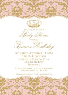Princess Baby Girl Shower Invitation Pink by OldWaysFussNFeathers